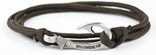 550 Paracord Hook Adjustable Bracelet Jet Black With Antique Silver Tone Hook