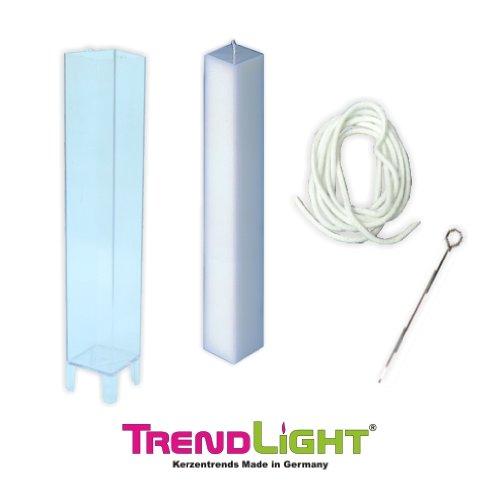 TrendLight ® 860502 - Stampo per candela, quadrato, include stoppino da 1 m, supporto per stoppino e guida, 38 x 220 mm