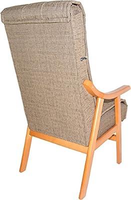 Abitti Sillón de Madera Maciza Color Cerezo y tapizado Agua Marron para salón Comedor o Dormitorio. 110x69x59cm. Envío montado.