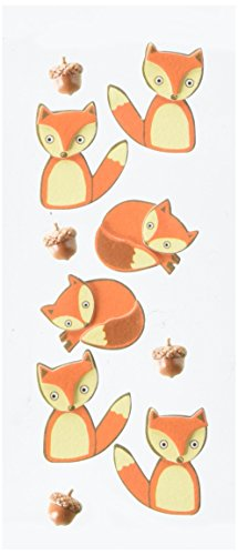 Little B 102104 Foxes Dimensional Stickers, Mini
