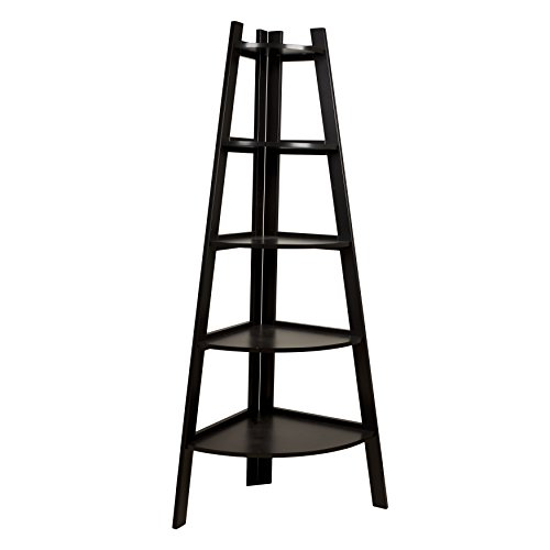 Contemporary Solid Wood 5 Tier Ladder Display Bookshelf in Dark Brown Espresso Finish - Includes Modhaus Living Pen
