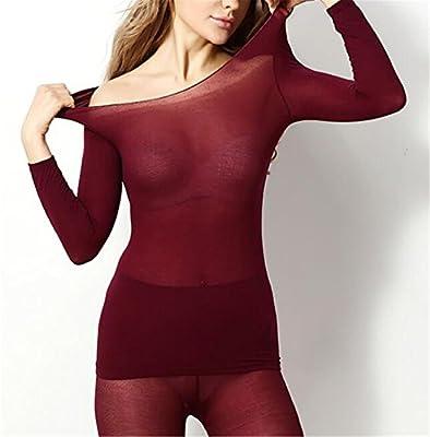 fa818188593 Amazon.com  Dapengzhu Hot Winter 37 Degree Women Slimming Thermal Underwear  Ultrathin Heat Long Elastic Body Suit wine red One Size  Health   Personal  Care