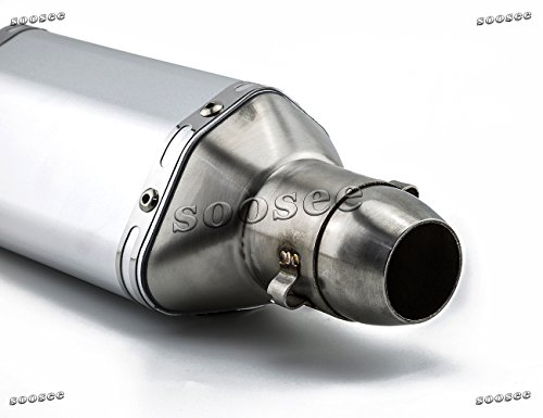 Soosee Stainless Steel Universal 1.5-2'' Inlet Exhaust Muffler with Removable DB Killer for Street/Sport Motorcycles and Scooters Z750 CBR125 CB400 Z800 ZX-6R ZX-10R GSXR by Soosee (Image #3)