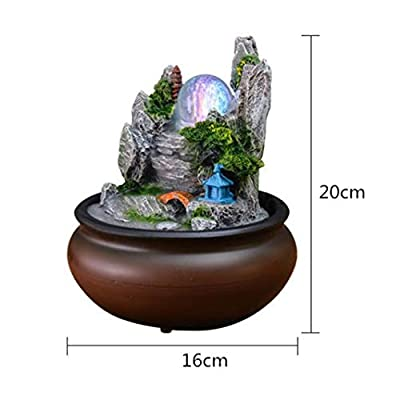 NOMIMAS Rockery Maitreya Carp Water Fountain Feng Shui Ball LED Light Home Decoration Office Opening Desktop Furnishings
