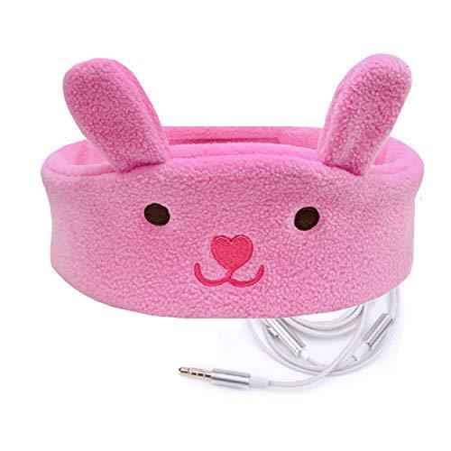 Charlxee Kids Headphones Children Girls Boys Teens Volume Limiting Foldable and Durable Headphone Headband for School, Home and Travel-Pink Bunny