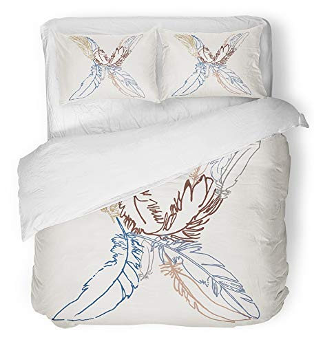 - Emvency 3 Piece Duvet Cover Set Breathable Brushed Microfiber Fabric Capital Letter X Monogram Made of Feathers Alphabet Perfect for Webs Graphics Bedding Set with 2 Pillow Covers Twin Size