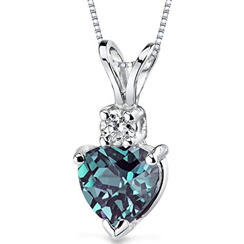 (14 Karat White Gold Heart Shape 1.00 Carats Created Alexandrite Diamond Pendant)