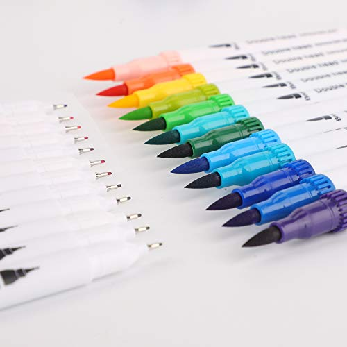 Colouring Pens for Adults and Kids, bedee 48 Colours Dual Tip Brush Pens Set - Felt Brush Tip & Finelines Tip, Art Watercolour Markers Pen for Colouring Books, Drawing, Painting, Bullet Journal