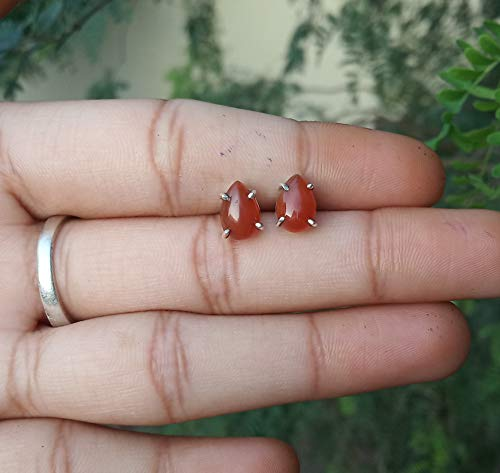 Carnelian Studs Earrings, Prong Studs, 925 Sterling Silver Earrings, Gift For Her, Promise Earrings, Boho Earring, Natural Stone Earrings, Cabochon Earrings, Bridal Studs, Engagement Gift, Post Studs
