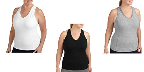 Danskin Racerback Tank (Danskin Now Women's Plus Size Dri-More Core Racerback Shelf-Bra Tank (Arctic White, Black soot, and Heather Grey Bundle) … (1x))