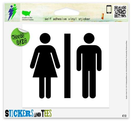 "Unisex Men Women Bathroom Sign Vinyl Car Bumper Window Sticker 5"" x 5"""