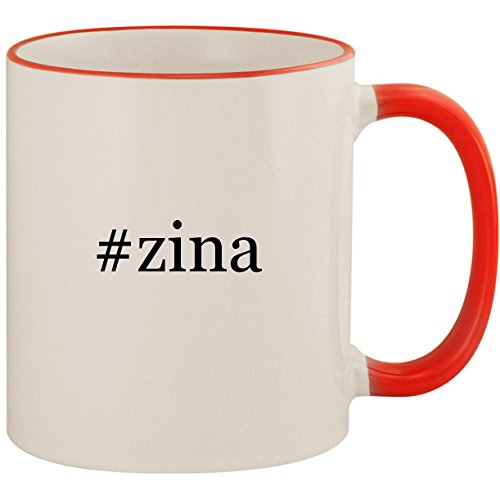 #zina - 11oz Ceramic Colored Handle & Rim Coffee Mug Cup, Red ()