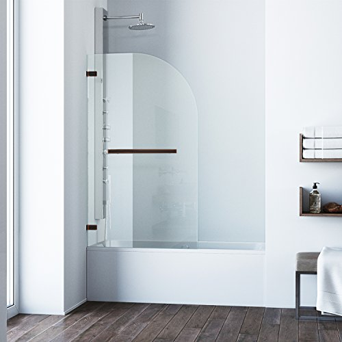VIGO Orion 34-in. Curved Bathtub Door with .3125-in. Clear Glass and Antique Rubbed Bronze Hardware