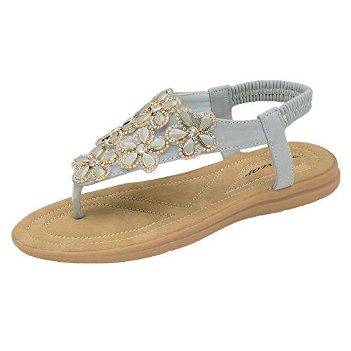 Dunlop Flip Flops Toe Post Slip On Sandals Flat Cushioned Jaden - Powder Blue Tn6xaZrRp