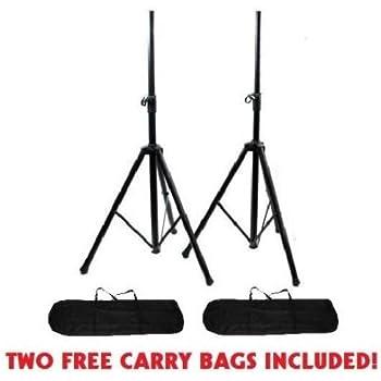 4 rockville dj pa tripod speaker stands bags hydraulic air auto lift rvss4ab. Black Bedroom Furniture Sets. Home Design Ideas