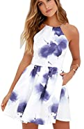Fancyinn Women Sexy Backless Spaghetti Strap Floral Print Short Mini Casual Dress