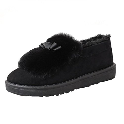 Elevin(TM)Fashion Women Flat Ankle Fur Lined Lazy Shoes Winter Warm Snow Boots Booties Black V8m2LJ