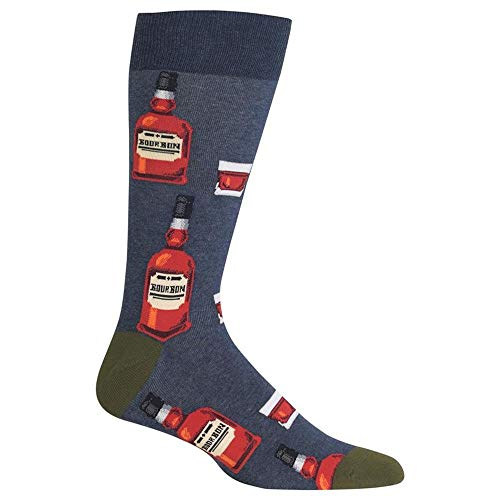 Hot Sox Men's Food and Booze Novelty Casual Crew Socks, Bourbon (Denim Heather), Shoe Size: 6-12 (Best Bourbon Under 20)