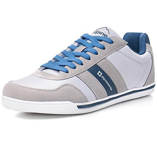 alpine swiss Haris Haris Men's Suede Trim Retro Striped Sneakers, Gray, 11