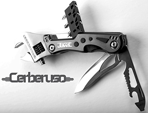Cerberuso JAWS. Multi 9-in-1 Adjustable Wrench Knife with 3 Changeable Screwdrivers and LED Torch. Heavy Duty survival hand tool with 3 inch Blade & Bottle openers. With Free Nylon Belt - Tool Wrench Multi