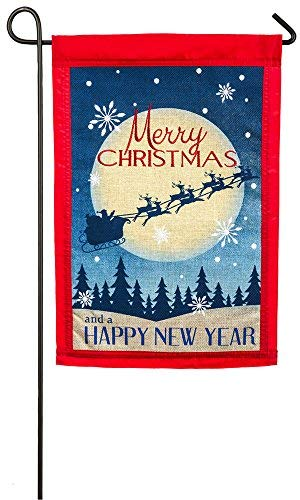Evergreen Embroidered Vintage Merry Christmas Burlap Garden Flag, 12.5 x 18 inches