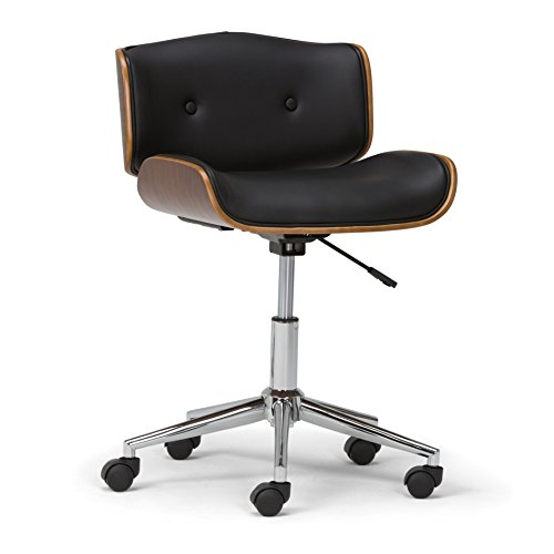Simpli Home AXCDAXN-BL Dax Swivel Adjustable Executive Computer Bentwood Office Chair in Black, Natural Faux Leather