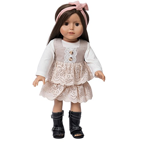FITS 18 INCH DOLL DRESS - VINTAGE DRESS SET - DOLL SHOES, DOLL HEADBAND, DOLL (American Vintage Collection)