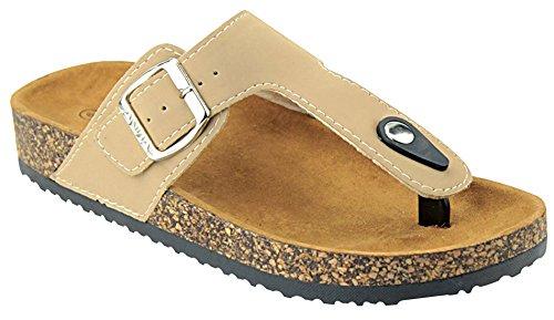 Anna Shoes Womens Thong Cork Sole Slide Sandal Taupe qg9ke8