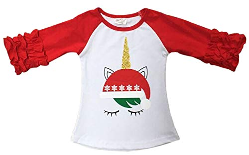 Hat Short T-shirt Sleeve Top (Big Girls' Glitter Unicorn Christmas Hat Birthday Raglan Blouse Top T-Shirt Tee Red 6 XL (P318528P))