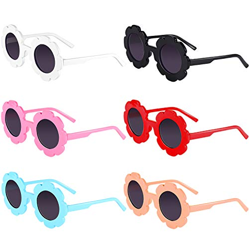 Norme 6 Pairs Kids Sunglasses Round Flower Shape Decorative Glasses for Toddler Boys ()