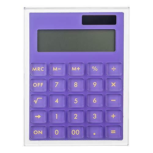 E&O Acrylic Calculator,Solar Power,12 Digits LCD Display,Modern Elegant Desk Accessory,Office Home Electronics,Business Present Ideas (Purple) (Basic Calculator Purple)