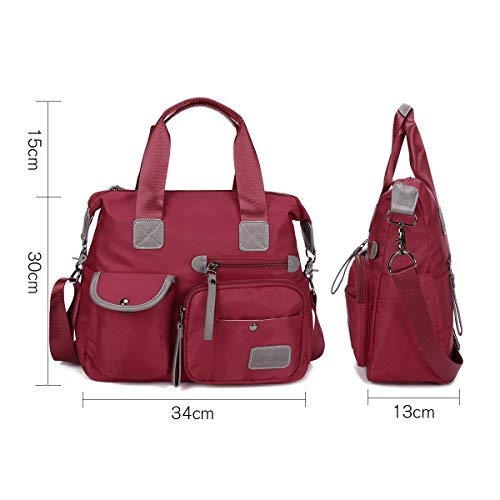 gracosy Waterproof Shoulder Bag Bags Cross Nylon Women's Body Fashion Red qw1pWExX