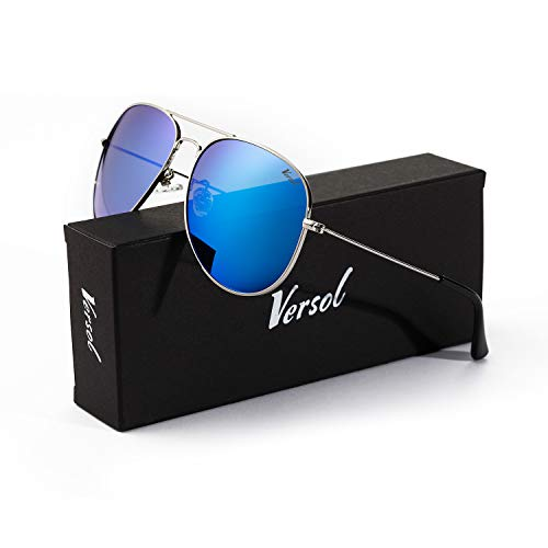 (Versol Aviator Sunglasses for Men Women Polarized Metal Frame and UV 400 Protection 60mm - Premium Classic Style (Blue Mirror Lens + Silver))