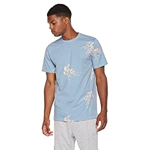 Rebel Canyon Young Men's Regular Fit Cotton Blend Printed Floral Short Sleeve Crew Neck Tee Large Blue Floral