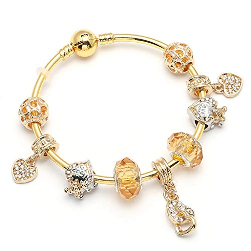 Present for Girlfriend Gold Colour Charm Bracelet; Bangles along with Love Heart Crystal Necklace fit Fine Bracelets Ladies Wedding Jewelry Gift Design