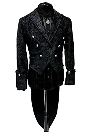 Men's Steampunk Jackets, Coats & Suits Shrine Gothic Victorian Steampunk Black Velvet Jacket Imperial Tailcoat $359.99 AT vintagedancer.com