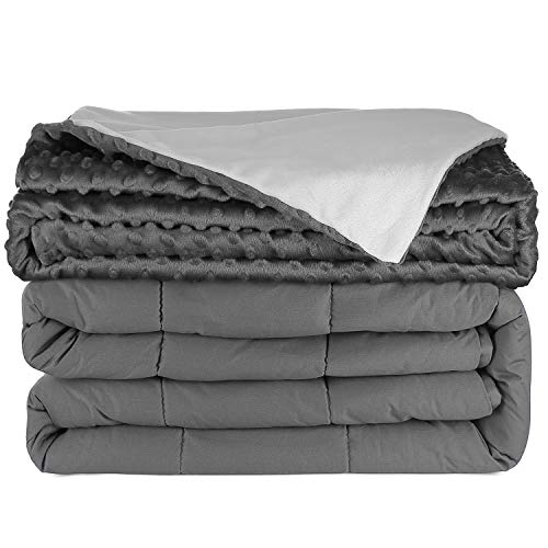 Cheap Nestl Bedding Heavy Weighted Blanket for Adults 15lbs Luxurious Plush Duvet Cover Removable Weighted Blanket Duvet Covers 60x80 for Teens and Adults - Gray Black Friday & Cyber Monday 2019
