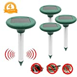 Fomei Ultrasonic Solar-Powered Mole Repellent Professional Mole Repeller Pest Deterrent Repelling Mole, Rodent, Vole, Shrew, Gopher, Snake for Outdoor Lawn Garden Yards Pest Control (4 Pack)