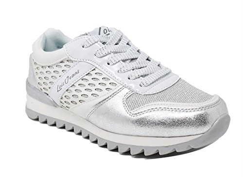 de Chaussures Lois à Argent Métallique pour Ville Jeans Femme Lacets qR5ppEw