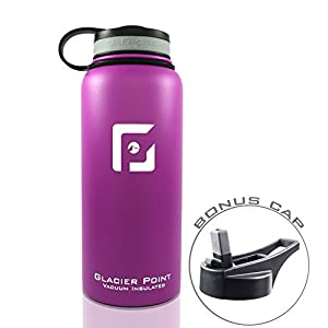 Best Vacuum Insulated Stainless Steel Water Bottle (32 OZ). Double Walled Construction. Powder Coat. Glacier Point (Purple)