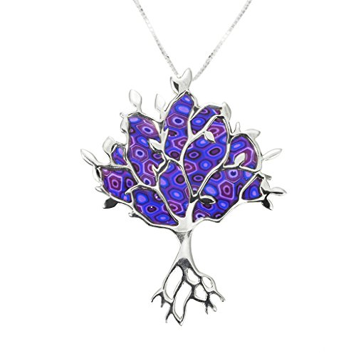 (925 Sterling Silver Tree of Life Necklace Pendant Purple Polymer Clay Handmade Jewelry, 16.5
