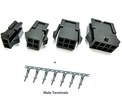 Davitu 50sets 3.0mm Micro-Fit 3.0 Connector Plug Housing 2 Pin 4 6 8 10 12 14 16 18 20 22 24 P Panel Mount Ears Terminal Molex 43020 Color: 2 Circuits
