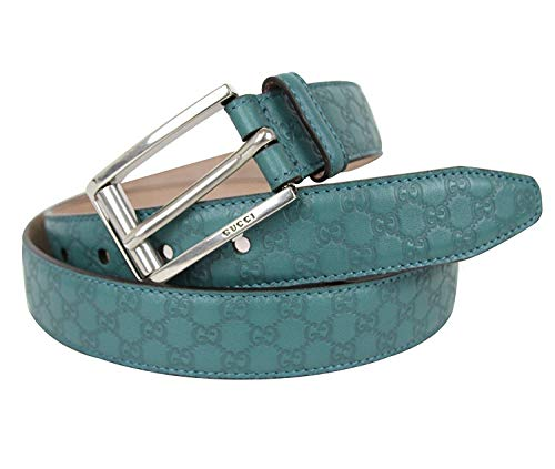 5320404030e54e Amazon.com: Gucci Mens Teal Leather Guccissima Belt Metal Buckle 281798  4715 90 / 36: Clothing