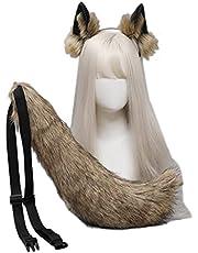 YOURPAI Wolf Oren HaarbandVrouwen Lolita Pluche Haar Ornamenten Wolf Oren Lange Staart Set Haaraccessoires Halloween Party Haar Hoop Cosplay Fancy Props