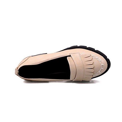 AgooLar Damen Ziehen auf Mittler Absatz PU Rein Rund Zehe Pumps Schuhe Aprikosen Farbe
