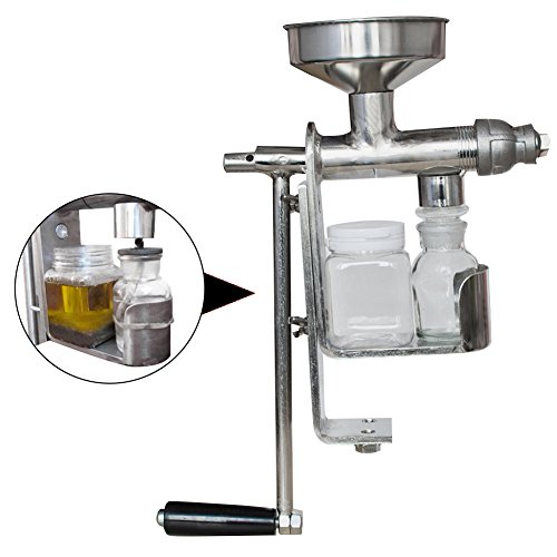 - Enshey Hand Crank Oil Press Machine Stainless Steel Household Oil Extractor Manual Oil Expeller Suitable for Peanut, Sunflower Seed, Tea Seed, Sesame Seed, Walnut, Olive, Coconut Oil, Flax Seed, etc.