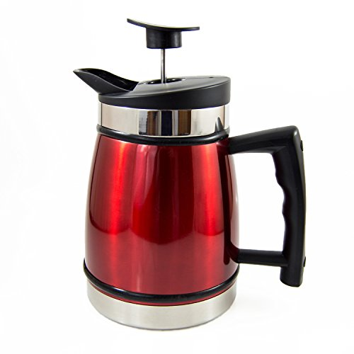 French Press Table Top Coffee and Tea Maker Carafe with Brü-Stop Technology - 32 oz - Stainless Steel - Candy Apple Red