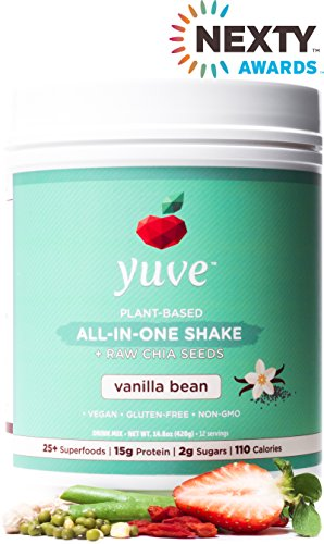 Yuve Vegan Protein Powder with Superfoods - Award Winning Taste - Complete Nutritional Shake - Natural Greens, Plant Based, Non-GMO, Gluten, Dairy, Soy and Lactose Free (Vanilla Tub) 14.8oz/420g ()