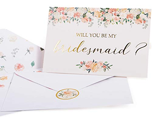 Bridesmaid Proposal Cards. Box set of 8 Will You Be My Bridesmaid and 2 Maid of Honor cards. 4 x 6 floral cards with gold foil ideal for bridal party or to go with bridesmaid gifts.