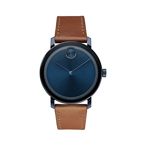 Movado Men's BOLD Evolution Blue PVD Watch with a Flat Dot Sunray Dial, Blue/Brown (Model 3600520)